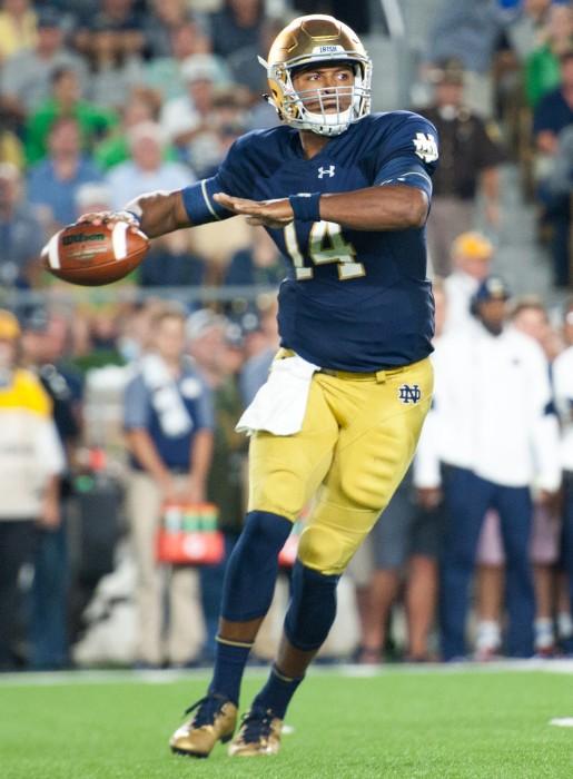 Irish quarterback DeShone Kizer winds up to pass during Notre Dame's 36-28 loss to Michigan on Saturday.