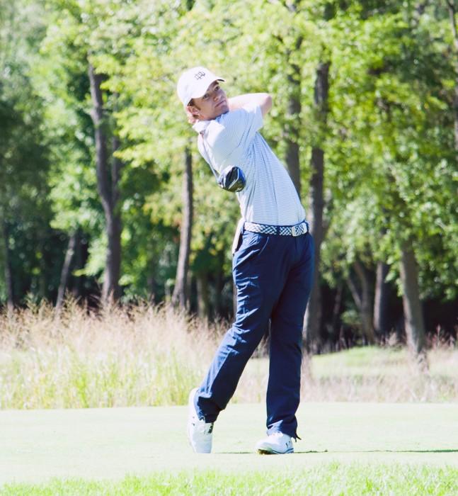 Notre Dame senior Matt Rushton tees off at the Notre Dame Kickoff Challenge on Sept. 3 at Warren Golf Course.