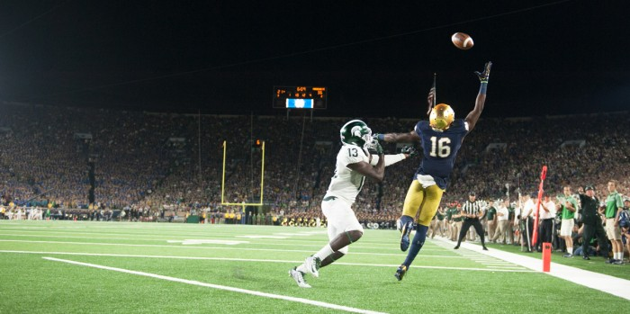Irish senior receiver Torii Hunter Jr. leaps for a pass during Notre Dame's 36-28 home loss to Michigan State last Saturday.