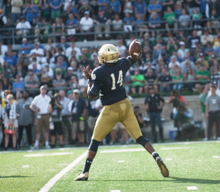 Notre Dame junior quarterback DeShone Kizer fires a pass during Notre Dame's 38-35 loss to Duke on Saturday.
