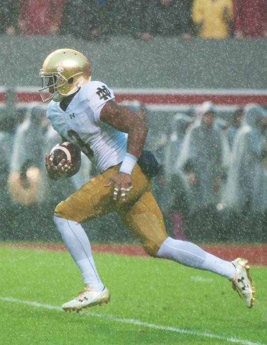 Irish sophomore C.J. Sanders returns a punt during Notre Dame's 10-3 loss to North Carolina State on Saturday.