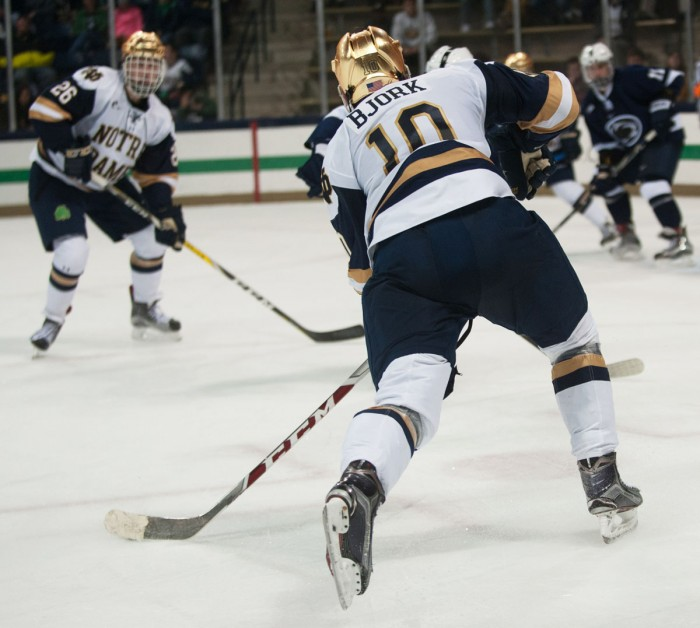 Irish junior forward Anders Bjork gets set to shoot in Notre Dame's 3-2 overtime loss to Penn State on Saturday at Compton Family Ice Arena.