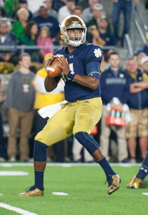 Irish junior quarterback DeShone Kizer drops back and loads to throw during Notre Dame's 17-10 loss to Stanford at Notre Dame Stadium on Oct. 15.