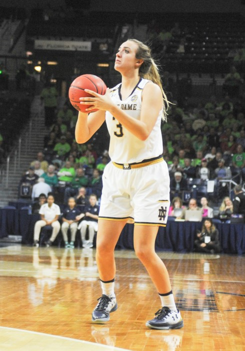 Sophomore guard Marina Mabrey loads up for a shot during Notre Dame's 67-36 victory over Fordham on Nov. 14 at Purcell Pavilion.