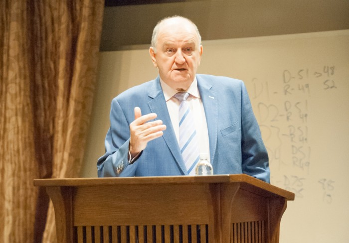 Irish radio broadcaster, George Hook, speaks on the 2016 US Presidential Election Wednesday in Geddes Hall .