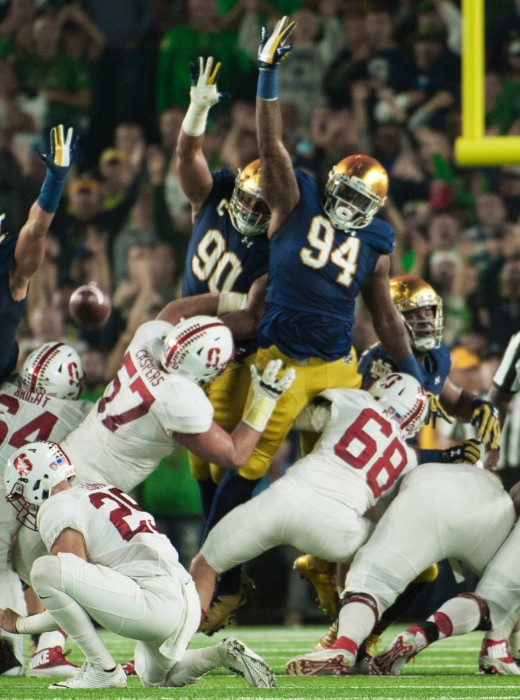 Irish graduate student defensive lineman Jarron Jones, 94, attempts to block a field goal during Notre Dame's 17-10 loss to Stanford on Oct. 15 at Notre Dame Stadium.