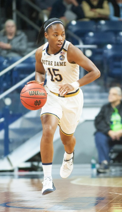 Irish senior guard Lindsay Allen dribbles the ball upcourt in Notre Dame's 67-36 win over Fordham on Monday night at Purcell Pavilion.