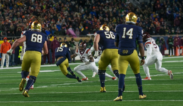 Irish freshman receiver C.J. Sanders catches a pass in Notre Dame's 34-31 loss to Virginia Tech.