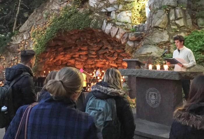 Students congregated at the Grotto on Nov. 22 for a prayer service to end sexual violence. The service was held in response to an email students received on Nov. 18 reporting a sexual assault.