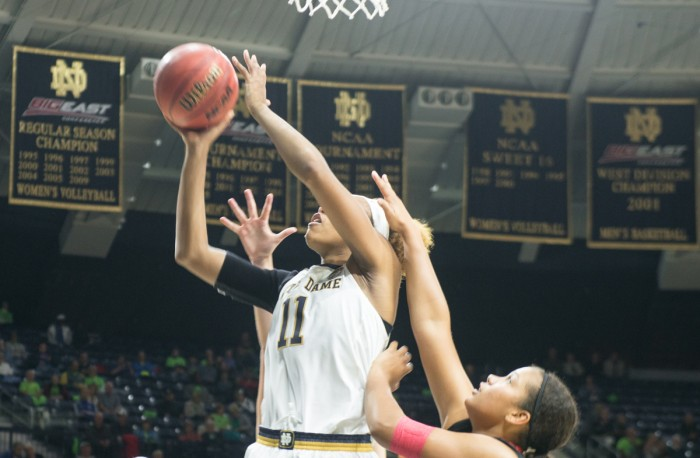 Irish junior forward Brianna Turner goes up for a layup during Notre Dame's 129-50 victory over Roberts Wesleyan on Nov. 4 at Purcell Pavilion.