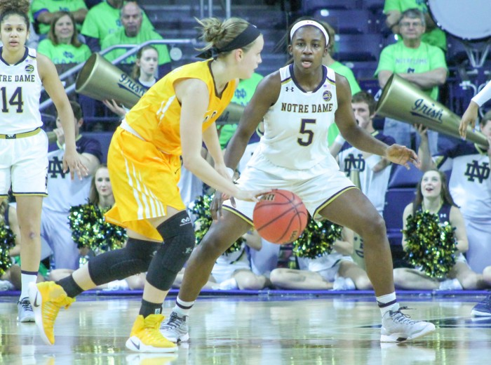 Irish freshman guard Jackie Young defends the opposing ballhandler during Notre Dame's 114-54 win over Valparaiso on Sunday at Purcell Pavilion. Young led the Irish in points and steals in the victory.