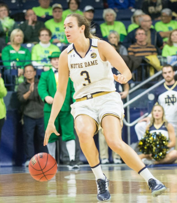 Irish sophomore guard Marina Mabrey dribbles the ball up the court during Notre Dame's 71-60 win over Washington on Nov. 20 at Purcell Pavilion.