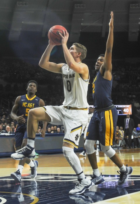 Irish sophomore guard Rex Pflueger goes up for a shot attempt during Notre Dame's 107-53 win over North Carolina A&T on Sunday.