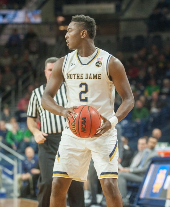 Irish freshman guard T.J. Gibbs looks to pass the ball during Notre Dame's 87-72 win over Fort Wayne on Dec. 6 at Purcell Pavilion. Gibbs recorded six points and four assists against the Mastadons.