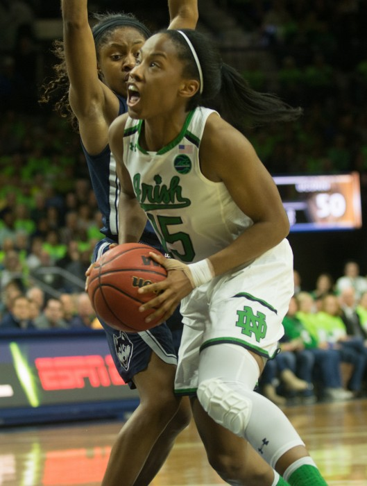 Irish senior guard Lindsay Allen takes the ball to the basket in Notre Dame's 72-61 loss to UConn on Dec. 7 at Purcell Pavilion.