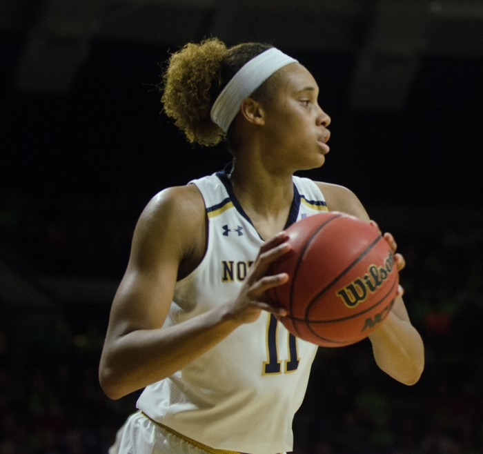 Irish junior forward Brianna Turner surveys the court during Notre Dame's 62-58 win over Duke on Thursday at Purcell Pavilion.