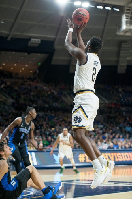 Irish freshman guard T.J. Gibbs shoots a wide-open jumper during Notre Dame's 84-74 loss to Duke on Jan. 30 at Purcell Pavilion.