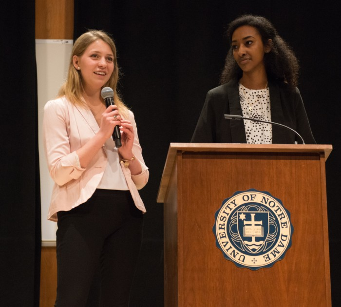 Juniors Becca Blais, left, and Sibonay Shewit speak at the student body president debate Monday at Carey Auditorium. Students voted Wednesday, electing Blais the next president and Shewit the next vice president.