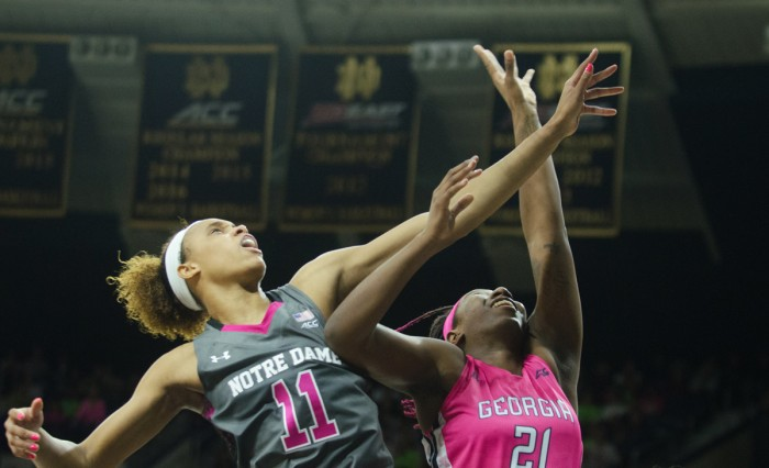 Irish junior forward Brianna Turner competes for a rebound during Notre Dame's 90-69 victory over Georgia Tech on Sunday at Purcell Pavilion.