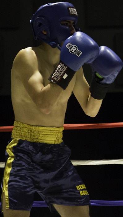 Sophomore Daniel Garcia readies himself during his fight Tuesday at the 87th annual Bengal Bouts tournament at the JACC.