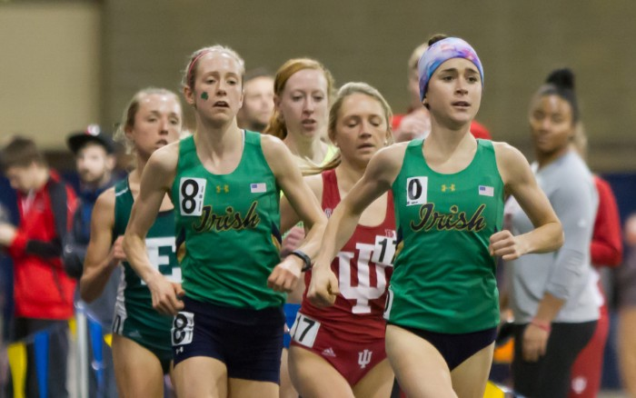 Irish graduate student Molly Seidel and sophomore Anna Rohrer compete during the Meyo Invitational on Feb, 4 at Loftus Sports Center.
