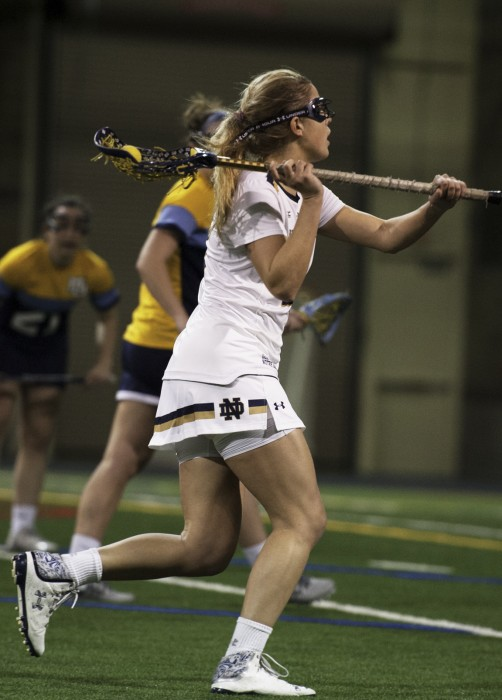 Irish senior attack Grace Muller looks to make a play during Notre Dame's 21-9 victory over Marquette on Feb. 14 at Loftus Sports Complex.