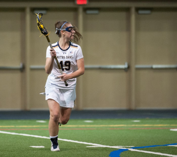 Irish sophomore midfielder Makenna Pearsall surveys the field during Notre Dame's 24-9 victory over Detroit on Feb. 11 at Loftus Sports Complex. Pearsall has four goals and one assist on the season.