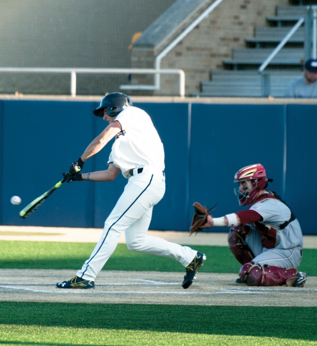 Irish sophomore outfielder Matt Vierling swings at a pitch during Notre Dame's 4-1 win over Boston College on April 15 at Frank Eck Stadium.