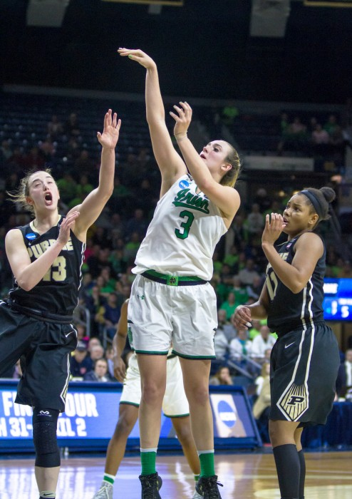 Irish sophomore guard Marina Mabrey shoots a jumper during Notre Dame's 88-82 win over Purdue on Sunday at Purcell Pavilion.