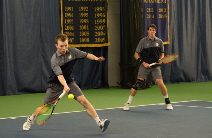 Irish freshman Matt Gamble hits a forehand during Notre Dame's 4-1 win over Northwestern on Feb. 24 at Eck Tennis Pavilion.