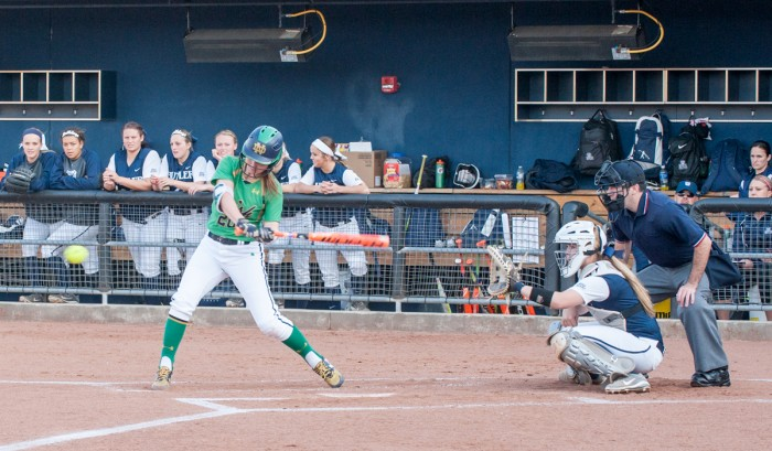 Junior infielder Morgan Reed swings at a pitch during Notre Dame's 5-0 win over Butler on April 14, 2016, at Melissa Cook Stadium. Reed drove in all eight runs for the Irish in their win over Georgia Tech.