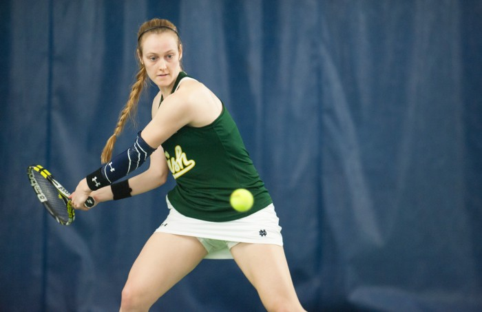Irish junior Brooke Broda readies for a backhand during Notre Dame's 5-2 victory over Purdue on Feb. 22 at Eck Tennis Pavilion.