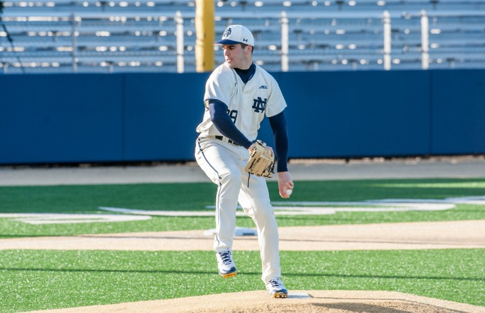 Irish senior southpaw Scott Tully  winds up during Notre Dame's 12-1 win over Northern Illinois on Tuesday at Frank Eck Stadium.