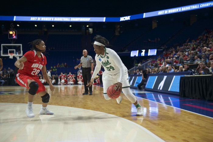 Irish sophomore guard Arike Ogunbowale drives to the basket during Notre Dame's 99-76 win over Ohio State on Friday at Rupp Arena in Lexington, Kentucky.