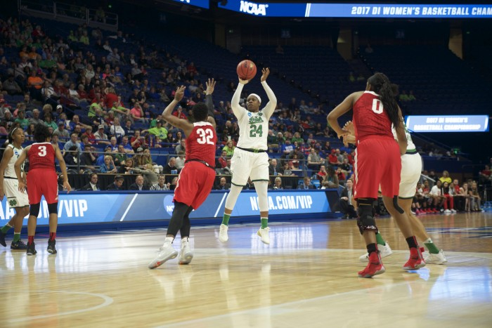 Irish sophomore guard Arike Ogunbowale attempts a 3-pointer during Notre Dame's 99-76 win over Ohio State on Friday at Rupp Arena in Lexington, Kentucky.