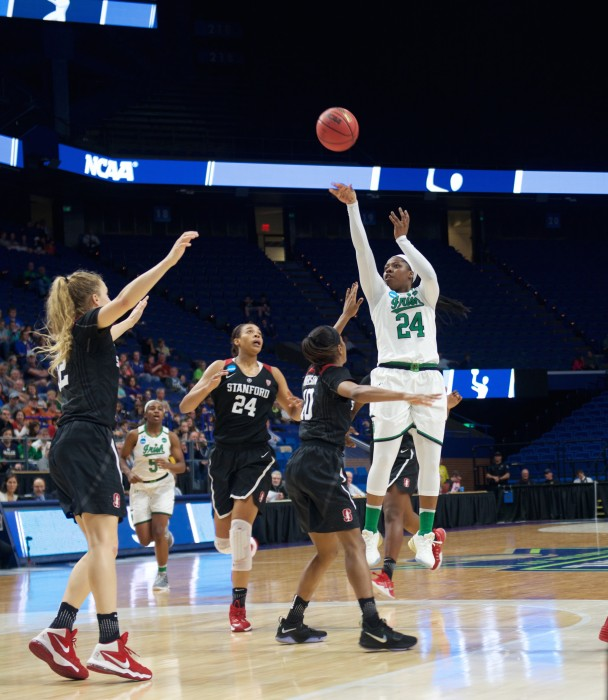 Irish sophomore guard Arike Ogunbowale releases a jumper during Notre Dame's 76-75 loss to Stanford on Sunday at Rupp Arena.