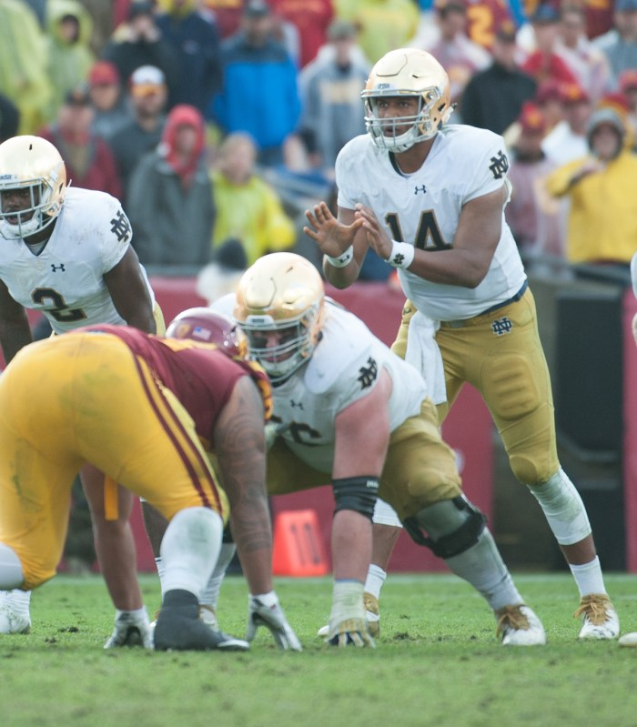 Irish senior Quenton Nelson prepares for a snap during Notre Dame's 45-27 loss to USC on Nov. 26 at the Los Angeles Memorial Coliseum.