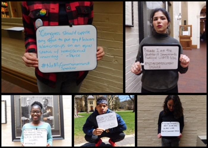 Students participate in a campaign called #notmycommencementspeaker, which aims to demonstrate that Pence is unfit to address graduates.