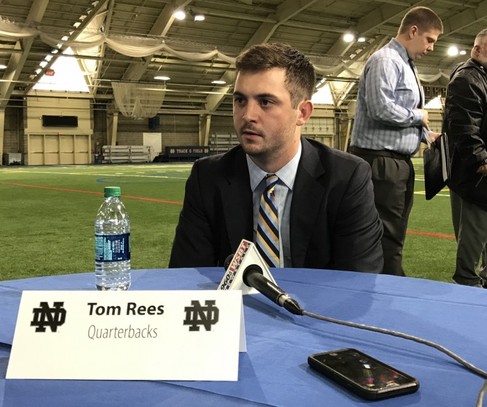 Tom Rees answers questions from the media after being introduced as Notre Dame's quarterbacks coach on Jan. 30.