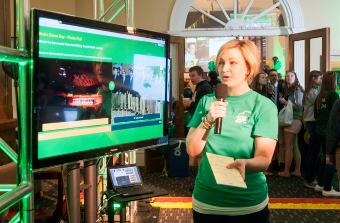 A Notre Dame Day team member speaks during the 29-hour live broadcast during the 2016 Notre Dame Day. Last year's event broke a fundraising record with 21,478 gifts contributed throughout the day.