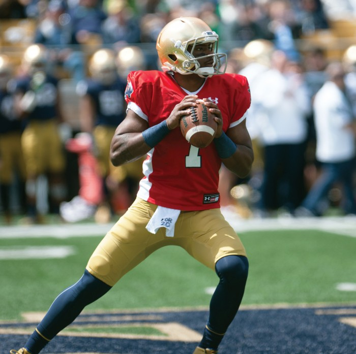 Irish junior quarterback Brandon Wimbush looks to pass the ball during the Blue-Gold game at Notre Dame Stadium on Saturday. Wimbush passed for 303 yards during the game.