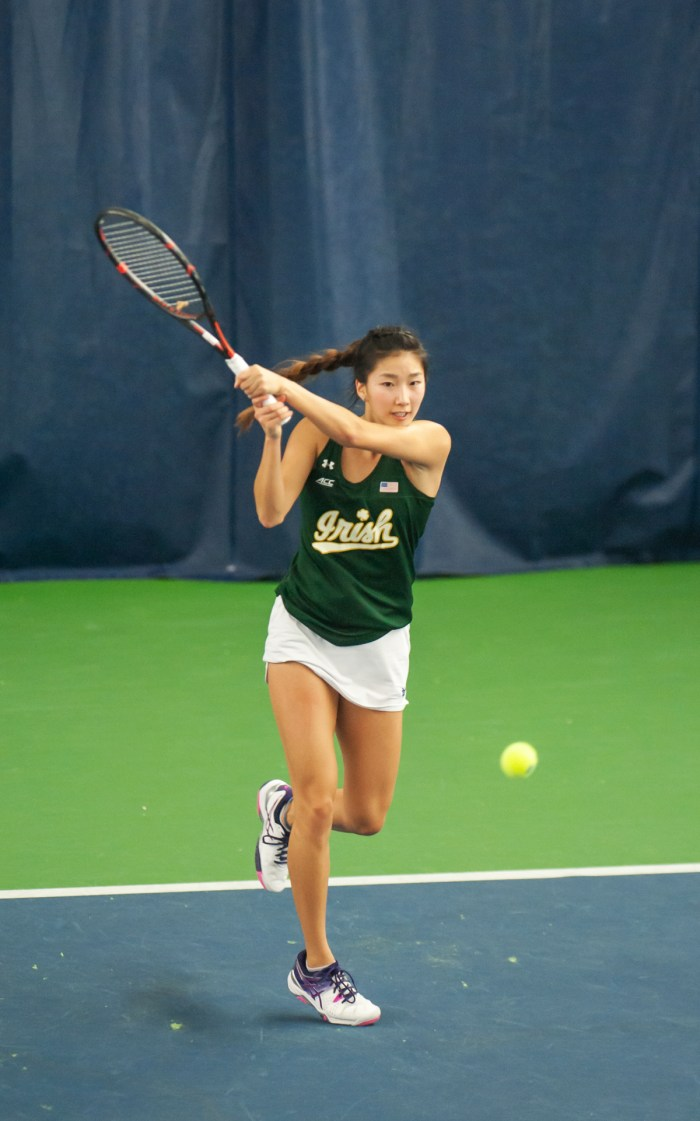Notre Dame sophomore Rachel Chong follows through on a hit during a 5-2 Irish victory over Purdue at Eck Tennis Center.