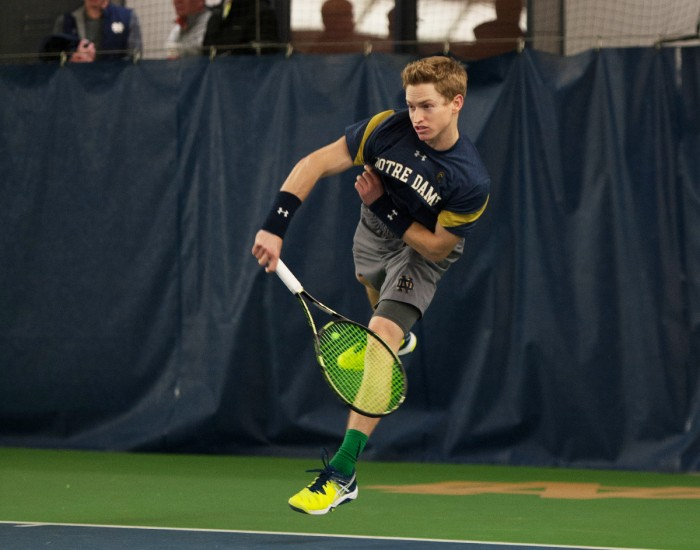 Irish senior Josh Hagar serves the ball during Notre Dame's 7-0 win over Boston College on Feb. 11 at Eck Tennis Pavilion.