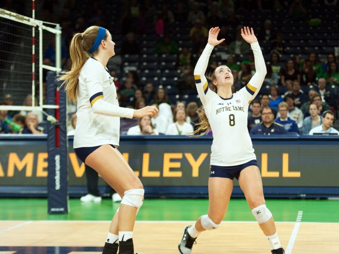 Irish junior setter Caroline Holt prepares to set the ball during Notre Dame's 3-1 win over Duke on Sept. 30 at Purcell Pavilion. Holt was the ACC leader in assists when she broke her leg in the middle of the season.