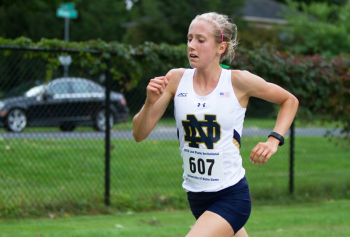 Irish sophomore Anna Rohrer runs in the Notre Dame Invitational on Sept. 30. Rohrer finished first, while the team finished eighth.