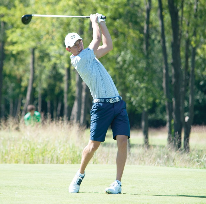 Irish senior Thomas Steve hits a tee shot during the Notre Dame Kickoff Challenge on Sept. 3 at Warren Golf Course. Steve finished in a tie for fourth at the event, shooting a 3-under-par 138.