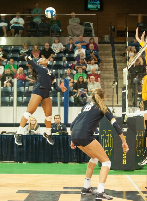 Irish sophomore outside hitter Jemma Yeadon goes up for a hit during Notre Dame's 3-1 win over Valparaiso on Friday.