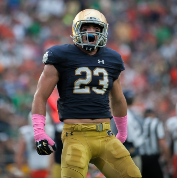 Senior Drue Tranquill celebrates after a defensive stop during Notre Dame's victory over the Hurricanes on Oct. 29, 2016.
