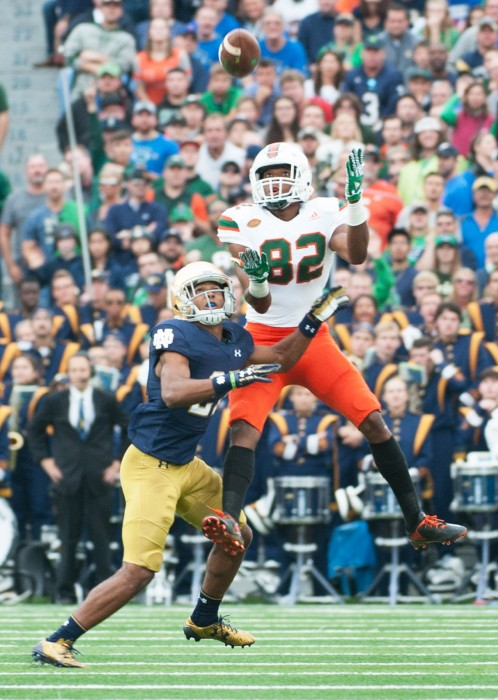 Irish sophomore cornerback Julian Love tracks the incoming pass during Notre Dame's 30-27 win over Miami (FL) on Oct. 29, 2016, at Notre Dame Stadium.