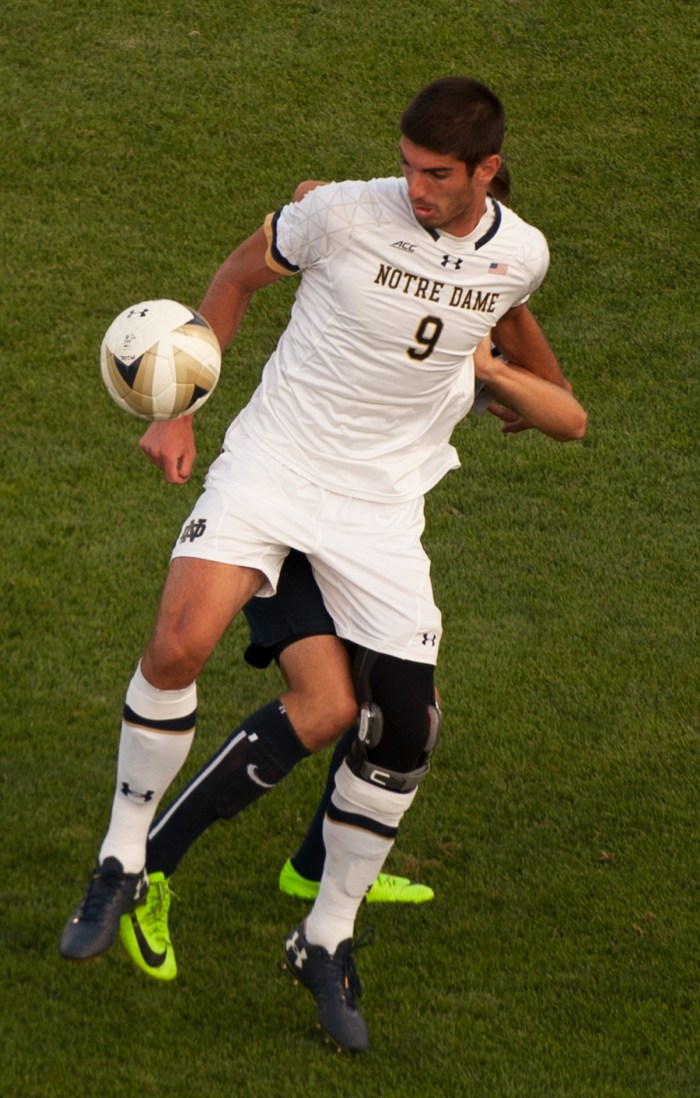 Irish senior forward Jeff Farina maneuvers around a defender during Notre Dame's 2-0 win over San Diego on Aug. 25.